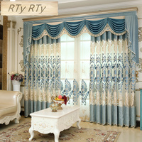 High Quality Embroidered Luxury Curtains Window For living Room Bedroom Kitchen Tulle Curtains Valance Drapes