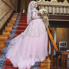 Arabic Pink Muslim Wedding Dress Dubai High Neck With Hijab Lace Ball Gown Wedding Dress Turkish Bridal Gowns For Wedding Party