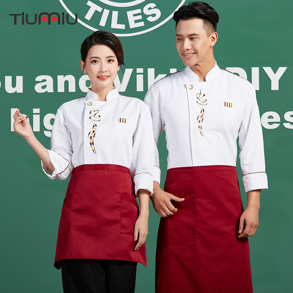Unisex Chef Jacket Food Service Men Women Workwear Uniform Restaurant Bakery Kitchen Embroidery Breathable Chef Coat 2018 New