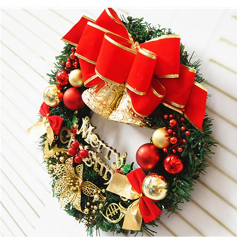 Hot SALE New Christmas Ball Bell Garland Merry Christmas Wreath Door Wall  Christmas Home Decorations