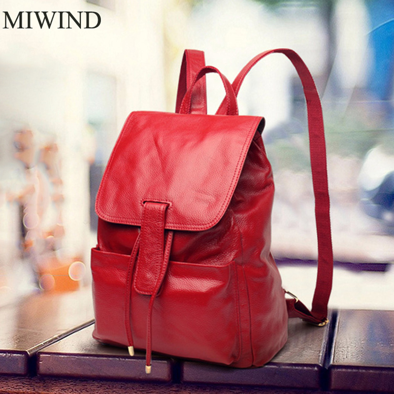 MIWIND Backpack Natural Soft Real Leather Backpacks Genuine First Layer Cow Leather Top Layer Cowhide Women Backpack WUB076 mi light wifi controller 4x led controller rgbw 2 4g 4 zone rf wireless touching remote control for 5050 3528 led strip