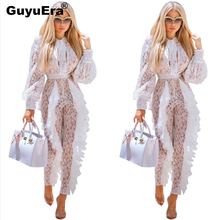 GuyuEra New Fashion European and American Ladies Lace With Pleated Pants Long Sleeve Jumpsuit