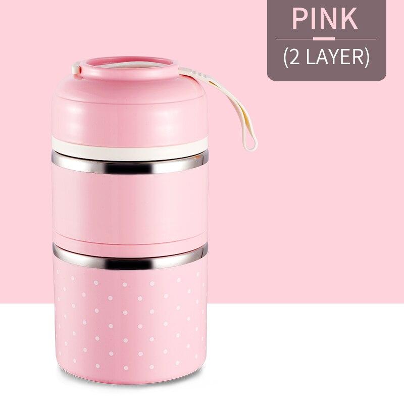 Милые детские Термальность Коробки для обедов герметичность Нержавеющая сталь Bento box для детей Портативный Пикник школа Еда контейнер Box - Цвет: Pink 2 Layer