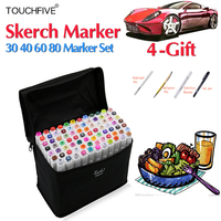 TOUCHFIVE168 30 40 60 80Colors Art Markers Pen Set Sketch Graffiti Dual Headed Markers Pen For