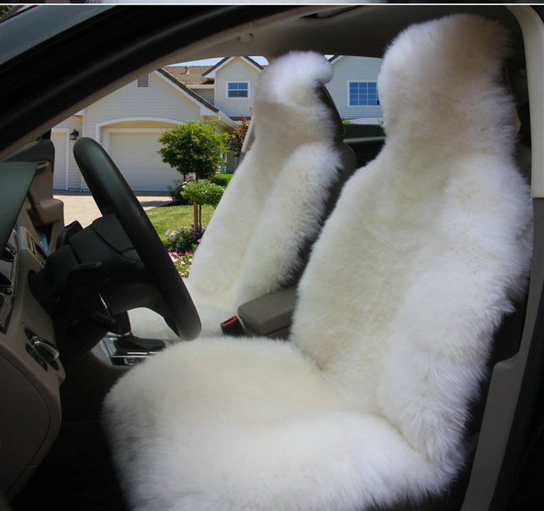 Australian Woolen Sheepskin Car Seat Cover Front Single Seat Cover Winter Warm for Lada Granta,Universal size for Logan Toyota 1 pc australian natural woolen winter warm fur car front single seat cover sheepskin for all cars