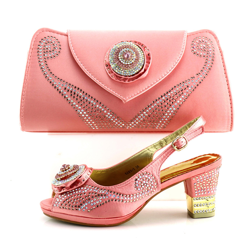 New Matching Shoes and Bag Set Peach Color African Shoe and Bag Set Italian Design Matching Shoes and Bags for African Parties цена