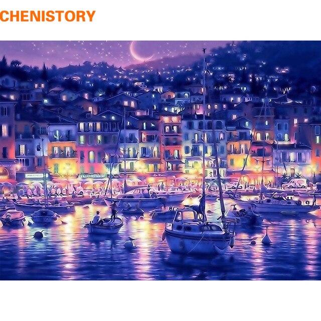 Chenistory água azul da noite da cidade digital diy pintura by numbers kits de coloração pintura by numbers desenho para o miúdo presente original