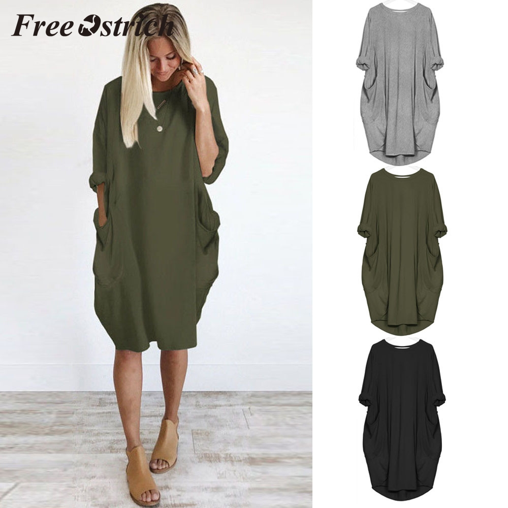 Plus Size Womens CasualDress Ladies Crew Neck Casual Long Tops Dress With Pocket