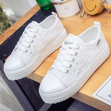 Fashion summer casual Ladies Shoes cutouts lace canvas hollow breathable platform flat Shoes woman sneakers