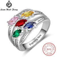 Personalized Engraved Name 925 Sterling Silver Stackable Ring 12 Colors Birthstone Wide Multilayer Ring Fine Gift (Lam Hub Fong)