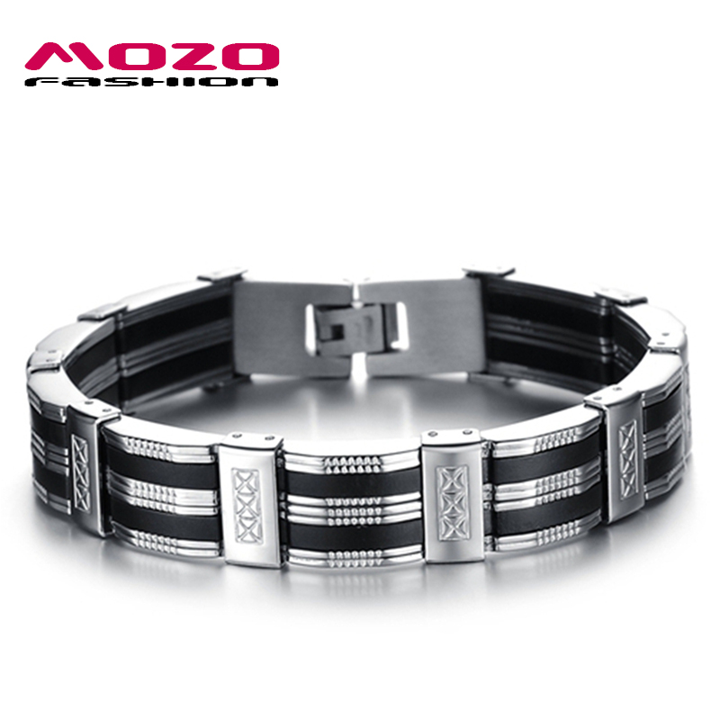 Hot Sale New 2016 Fashion Jewelry Black Silicone Mix Stainless Steel Personality Classic Men Bracelet Male Bangles MPH850