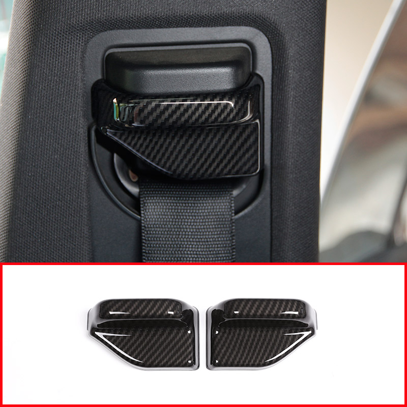 2pcs Carbon Fiber ABS Chrome Safety Belt Cover Trim For Mercedes Benz B CLA GLA Class W117 C117 W246 for benz cla c117 w117 inner door window switch button cover 2014 2017 14pcs