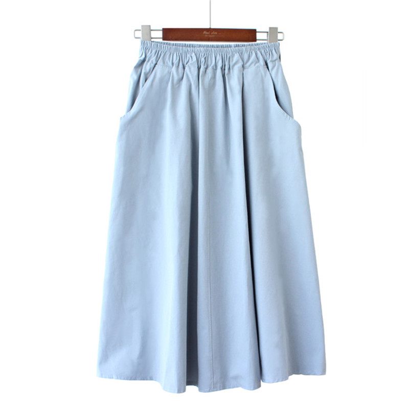 Midi Skirt Women New Fashion Elastic Waist Side Pockets Ruched Sun Falda Female Casual Solid Color Empire A-Line Cotton Skirt
