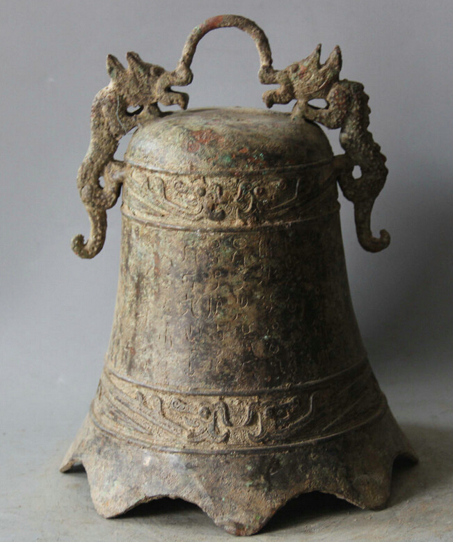 Elegante antigo S5983 10 arcaico Dynasty Chinese Palace Bronze Dois Dragão Templo Sino pendurado Zhong estátua (A0322) A0403