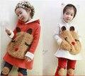 Conjunto de roupas Novo 2014 Outono das crianças das crianças Menina conjunto camisola bebê Urso bonito pullover Moletom Com Capuz + Calça twinset frete Grátis