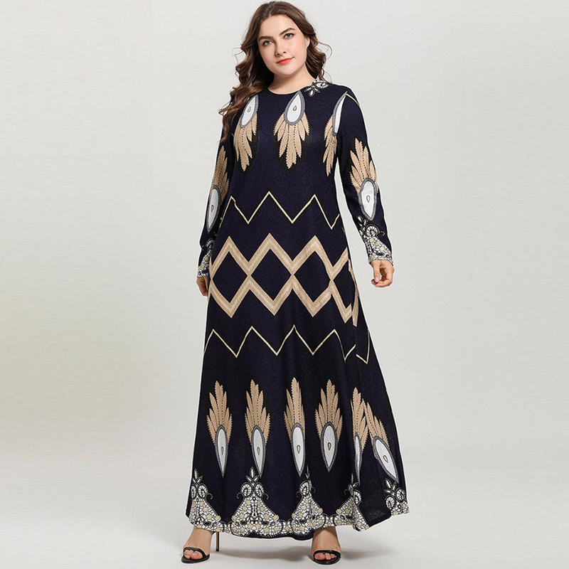 Navy Blue Women Plus Size Long Sleeve Vintage Wave Print Summer Muslim Abaya Stretchy Casual Maxi Long Dresses Vestidos 4XL