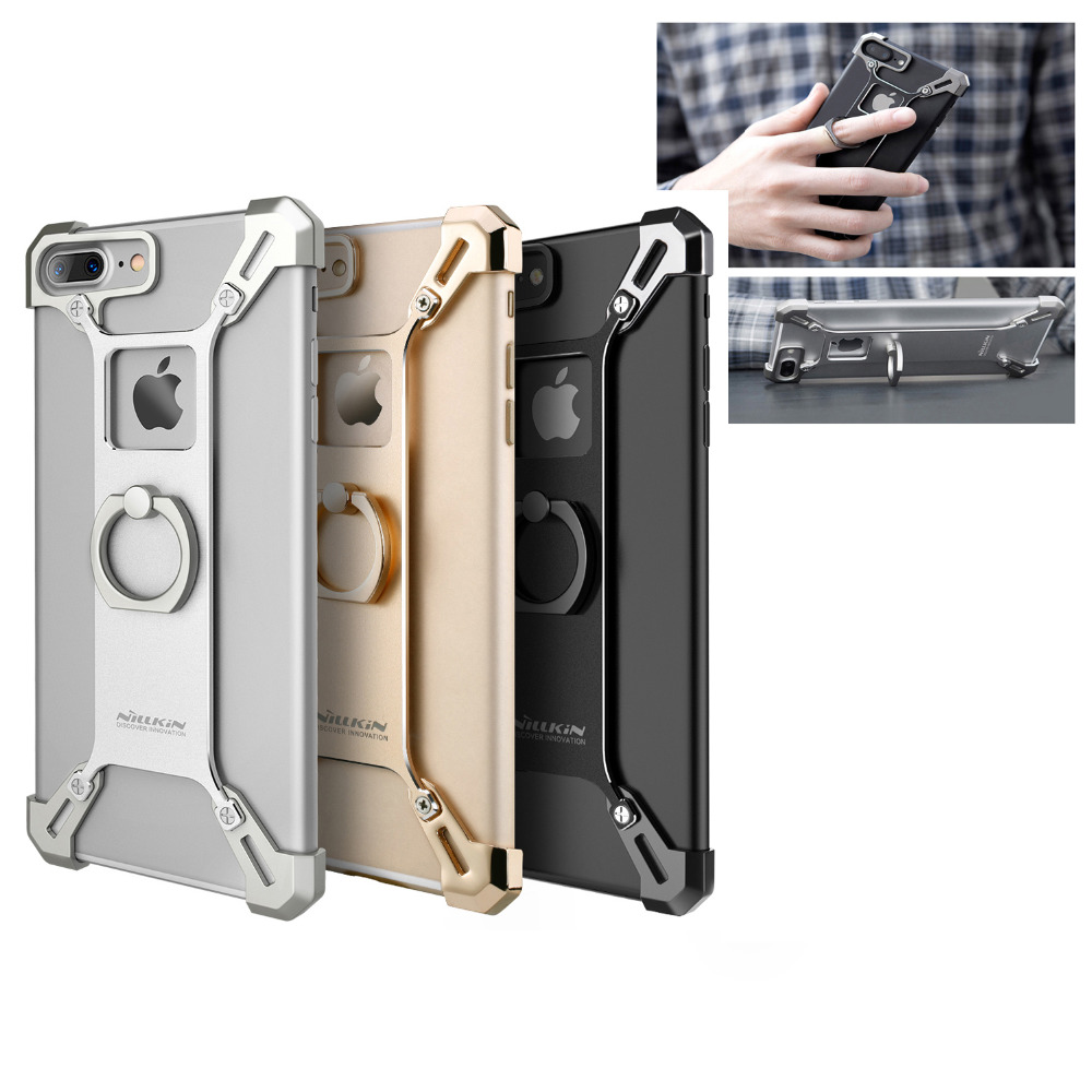 For Apple iPhone 7 /7 Plus Bumper Case, Nillkin X-shaped Metal Aluminu Frame Holder Kickstan Ring Cover Case For iPhone 7 /7+