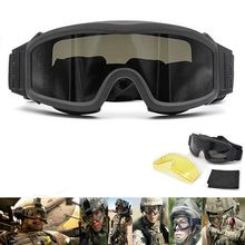 Tactical Goggles Military Airsoft Shooting Glasses GX1000 Black 3 Lens Motorcycl