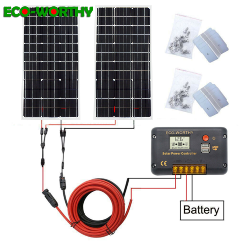 ECOWORTHY 200W système d'énergie solaire: 2 pièces 100W mono panneau solaire et 20A LCD contrôleur et 5m noir rouge câbles Z charge POUR batterie 12V-in Systèmes d'énergie solaire from Electronique    1