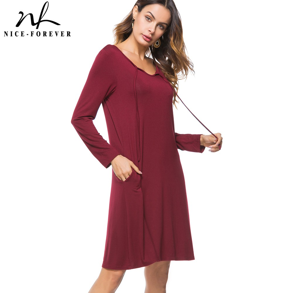 Nice-forever Causal Bandage Round Neck Ladylike vestidos Long Sleeve Business Women Straight Shift Loose Dress T021