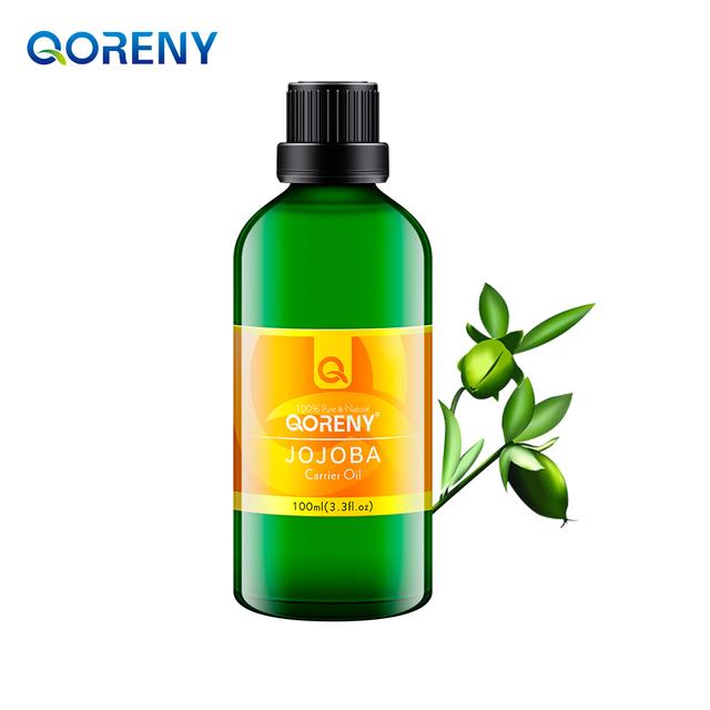Qoreny 100% pure natural aromaterapia essencial óleo de jojoba pele manutenção de banho do cuidado de cabelo óleo de jojoba base de óleo de aromaterapia