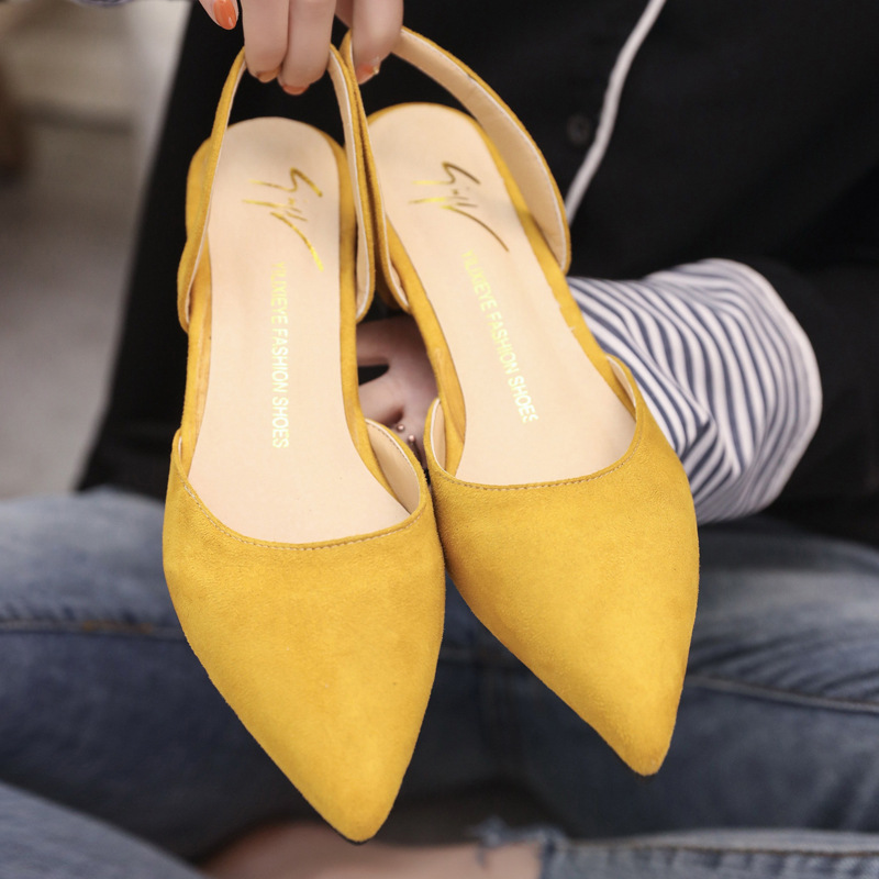 Spring Dress Shoes Women Low Heels Slip On Lady Sandals Flock Candy Color Summer Sandals Women Shoes Pointed Toe Pumps WSH3186 2