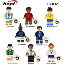 Singelförsäljning KF6032 Fotbollslag Pogba Ronaldo Messi Ibrahimovic Beckham Neymar JR Ozil Byggnadsblock Barn Gift Leksaker Modell