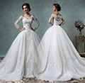 2016 vestido de boda con una larga tren de la cintura del hombro de la sirena con tres cuartos de manga apliques vestidos de novia