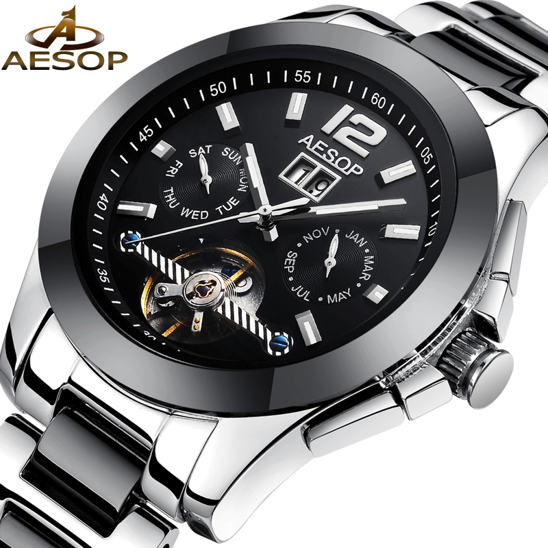AESOP Men Watch Automatic Mechanical Wristwatch Famous Brand Hollow Skeleton  Waterproof Male Clock Relogio Masculino Hodinky 27 aesop brand fashion watch men automatic mechanical wristwatch hollow waterproof tungsten steel male clock relogio masculino 46
