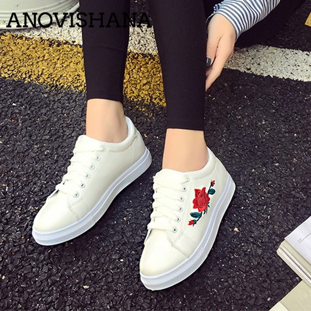 6bb961269bd0 ANOVISHANA Embroidery Spring and Autumn New white shoes female Korean thick-soled  shoes lace up flat shoes B524h