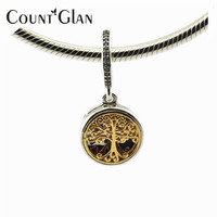 2016 Autumn New 925 Sterling Silver Family Roots With Clear CZ Dangle Solid 14K Gold Charm