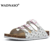 купить WADNASO New Summer Buckle Cork Slipper Women Flat Shoes Casual Mixed Color Beach Slides Flip Flops Plus Size 35-43 White black по цене 975.45 рублей
