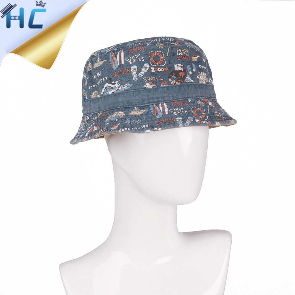 2017 Spring Summer New Denim Bucket Hat Fishing Bob Hat Print Embroider  Chapeu Pescador Men Women Sun Protection Hat Hip Hop ad9d5079af4