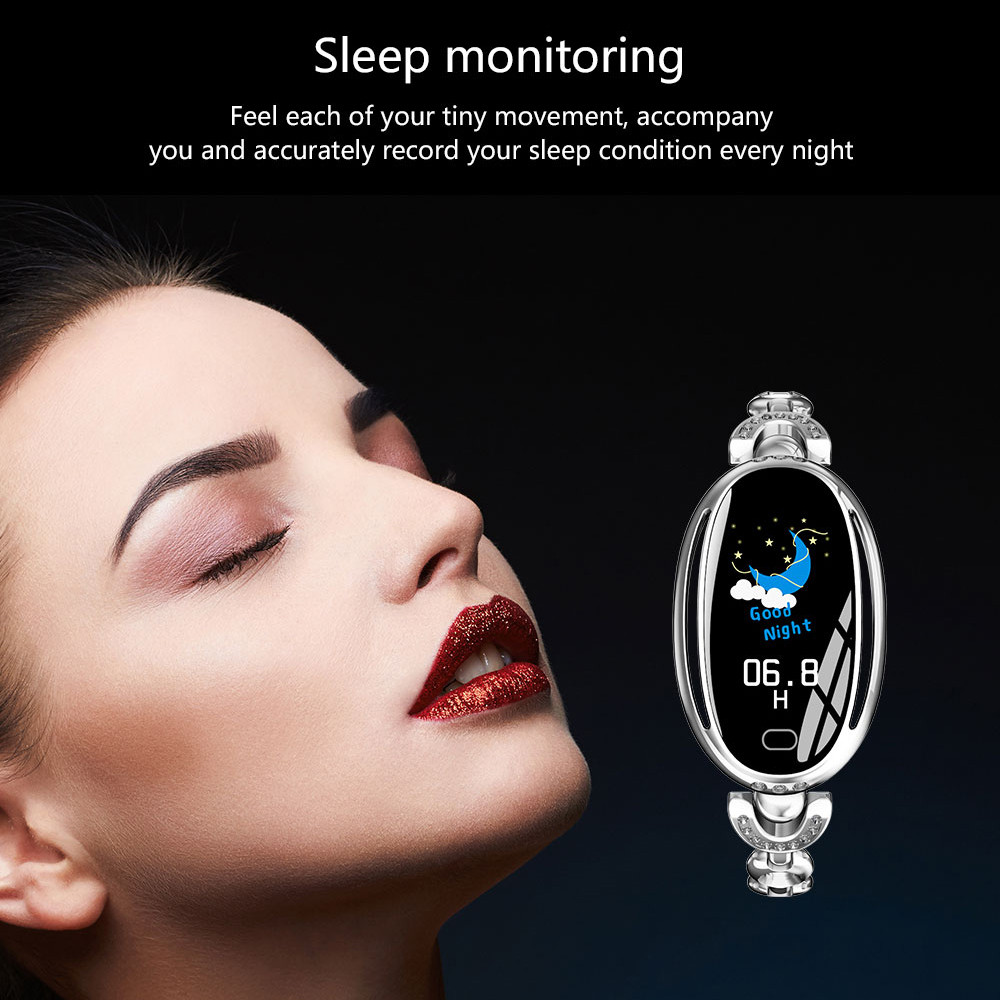 0 96 Inch Fashion Smart Bracelet Women Smart Band Heart Rate Blood Pressure Monitor Waterproof Fitness Long Standby Smartband in Smart Wristbands from Consumer Electronics