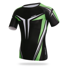 Green Cycling Clothes Shirt Cycling T Shirts Body Building Clothing Soccer Jersey Men's Running Quick Dry Short Sleeve Jersey