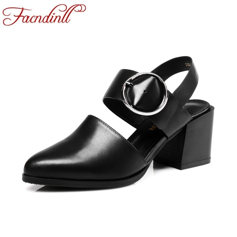 FACNDINLL new genuine leather summer women gladiator sandals fashion black white dress party square high heel women shoes sandal facndinll new genuine leather summer