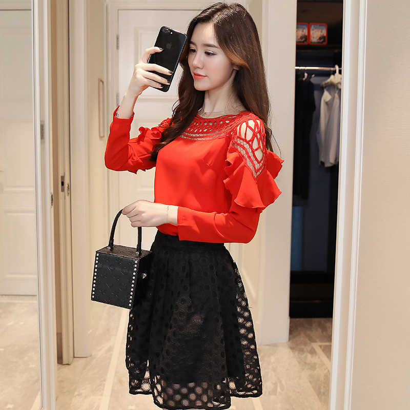 fashion women blouses 2018 long sleeve chiffon women blouse shirt top female solid red white blusa feminina ladies tops 0860 40