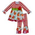 2017 nueva primavera de algodón niñas ropa de orange raya de la manga dress fruta apple imprimir pantalones de la colmena del traje ropa de bebé F091