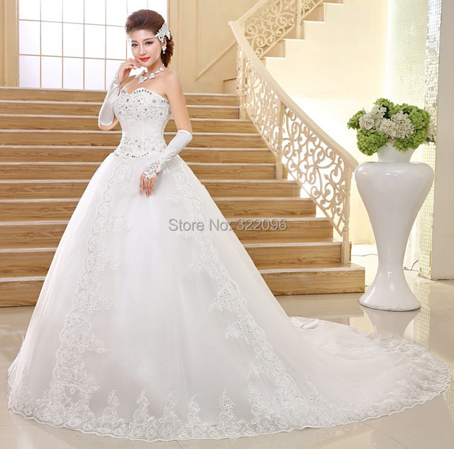 Free Shipping Wedding Dress Korean Long Tailed Strapless Lace The Trailing Nuptial Pregnant Women Can