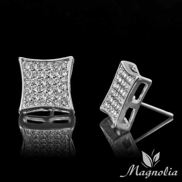 2017 Por Hip Hop Bling Crystal Stud Earring Brand Geometric Imitation Silver Color Earrings For Men