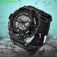 SANDA Men Sports Watches Military Watch Fashion LED Army Shock Digital Wristwatches Camping Outdoor Fun Male