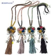 Ожерелье с разноцветными бусинами ожерелье помпоном и цветком