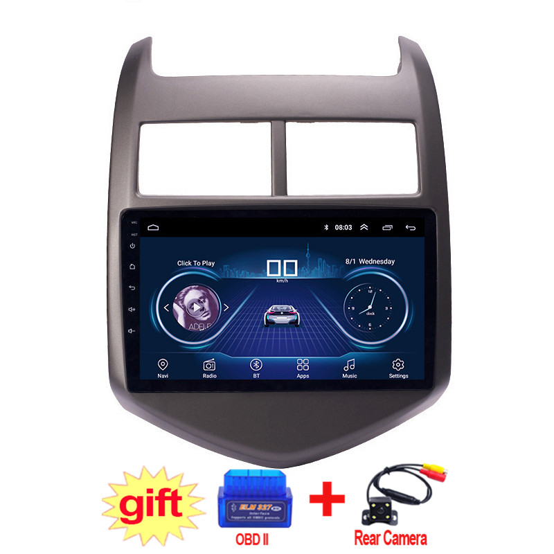 9inch IPS and 2.5D Touch Screen Android 8.1 Car DVD GPS Navigation for Chevrolet Aveo/Sonic 2011 2012 2013 Radio Audio Stereo