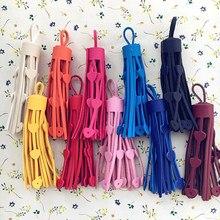 5 unids/lote 75mm de cuero de la borla borlas de gamuza recortar teléfono borlas para DIY colgante de joyería de coser ropa/Accesorios
