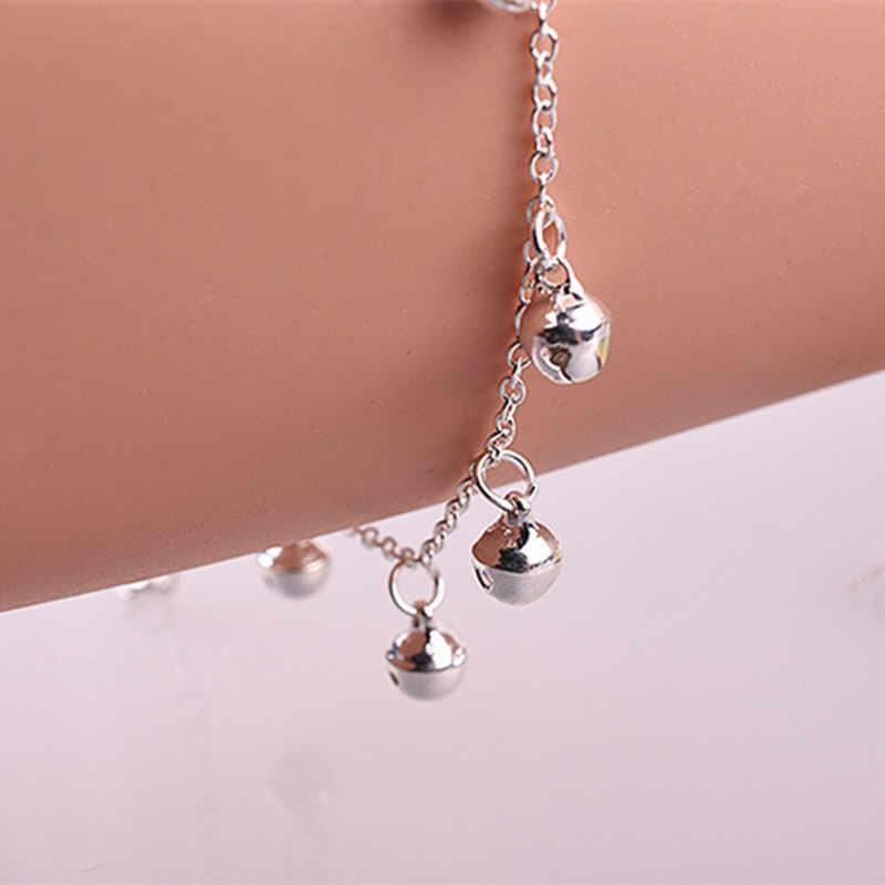 Nowa sprzedaż proste słodkie dziewczyny kolor srebrny dzwony bransoletka wisiorek delikatna bransoletka z małymi dzwoneczkami panie urodziny prezent hurtownia