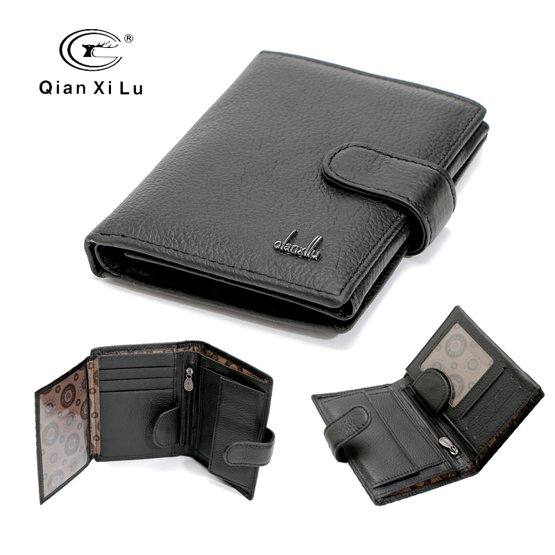 Brand Big Capacity Men Wallets Real Cow Leather Card Holder Wallet with Coin Pocket Designer Man Purses designer men wallets famous brand men long wallet clutch male money purses wrist strap wallet big capacity phone bag card holder