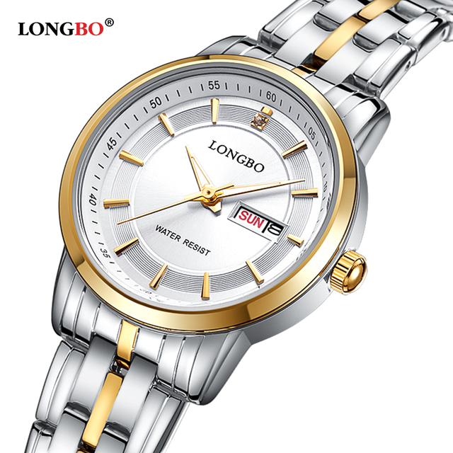 Longbo marca de lujo 2016 de ocio par de reloj de cuarzo de moda relojes de pulsera de acero inoxidable fecha calendario impermeable de los hombres 80146