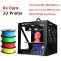 Nuevo estilo Sábanas caja de metal estructura 3 D impresora con pantalla grande 235*200*200mm gran tamaño impresora 3D filamento de impresión envío libre