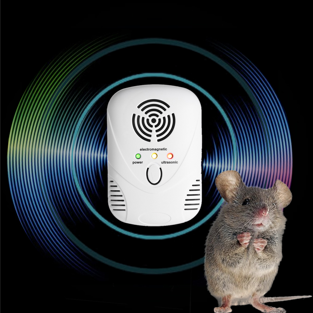 Electronic Mouse Mice Pests Repeller Ultrasonic Electromagnetic Wave Rat Repellent Repeller Nightlight Adjustable Wave Frequency