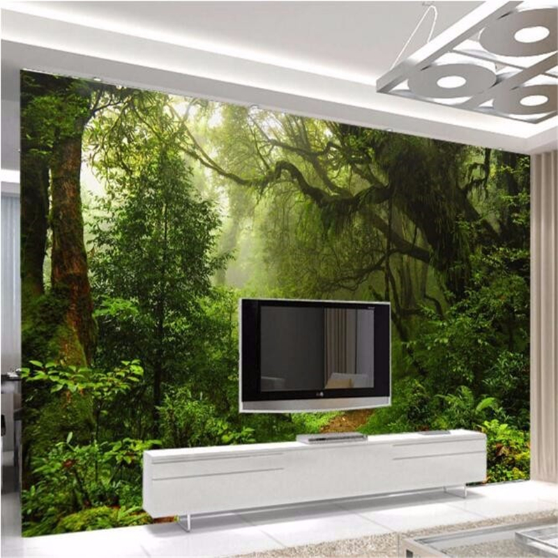 Beibehang 3 d custom any size mural primeval forest wallpaper photo 3 d nature landscape mural wallpaper for walls 3 d in Wallpapers from Home Improvement